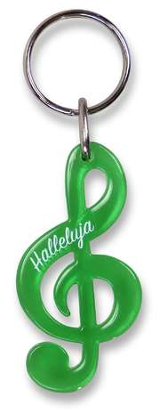 """Schlüsselanhänger Notenschlüssel """"Halleluja"""" - grün"""