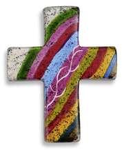 Handschmeichler Kreuz aus Speckstein - regenbogenfarben